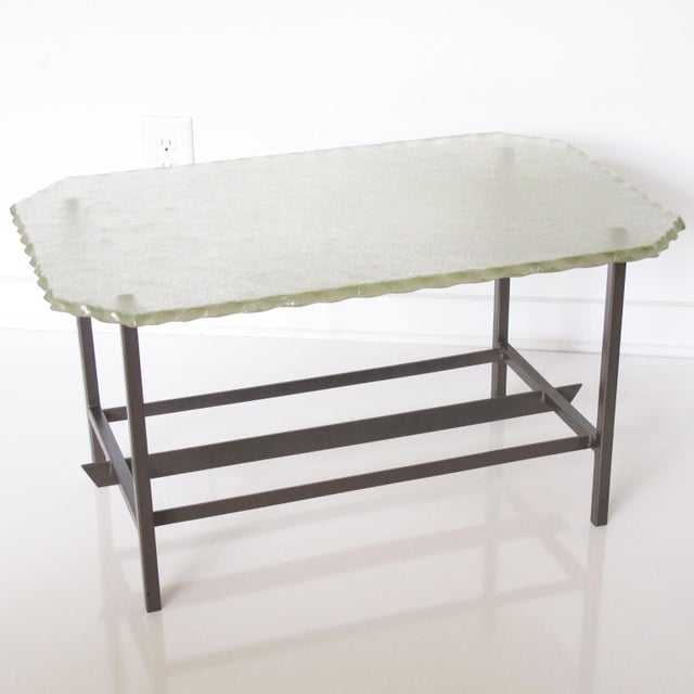Contemporary Fontana Arte Style 1960s Italian Glass Slab and Metal Coffee or Cocktail Table For Sale - Image 3 of 10