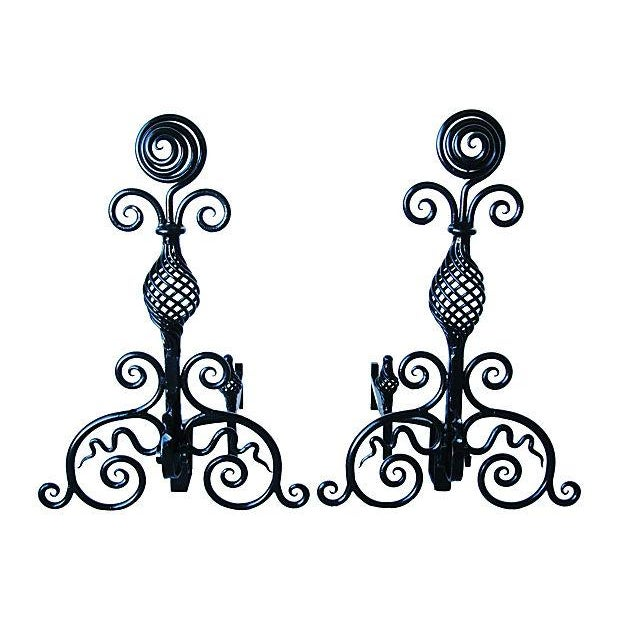Hand-Forged 1930s Fireplace Andirons - A Pair - Image 1 of 7