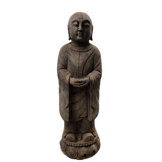 Late 19th Century Asian Antique Buddhist Monk Wooden Statue With Lotus Stand For Sale