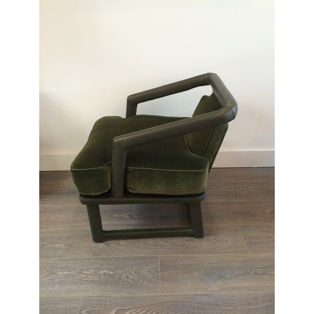 Green Leather & Mohair Lounge Chair - Image 3 of 10