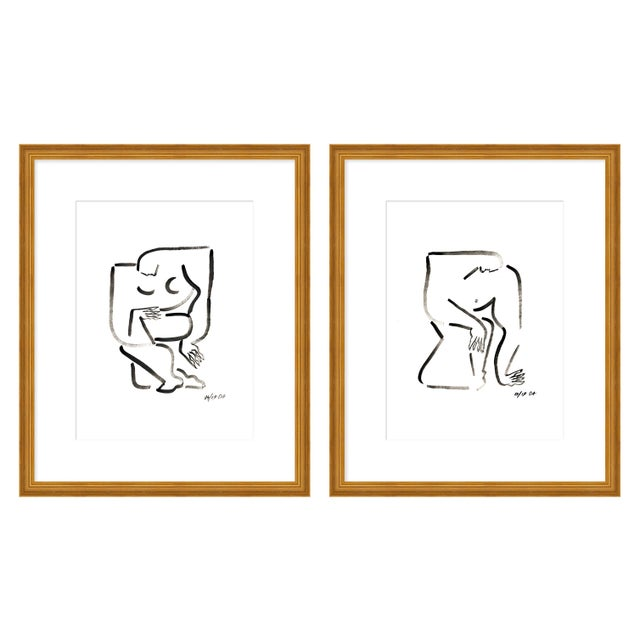 """Contemporary Large """"Woman and Man, a Pair"""" Print by Sia Dzahn, 52"""" X 32"""" For Sale - Image 3 of 3"""