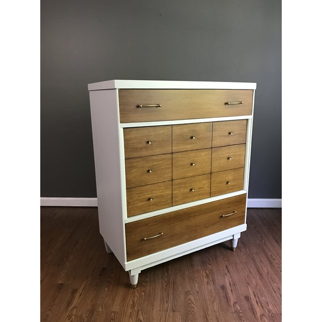 Stunning MCM Dresser, solid wood construction. Has been painted in Seagull Gray milk paint and sealed with HP top coat for...