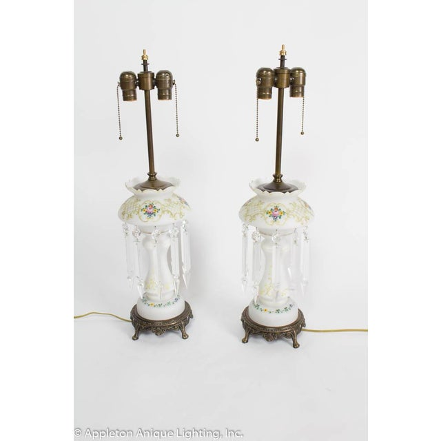 "Lamps made from Victorian Lustres. Glass is 19th century, bases and hardware are new. Shown with White paper shades, 16""..."