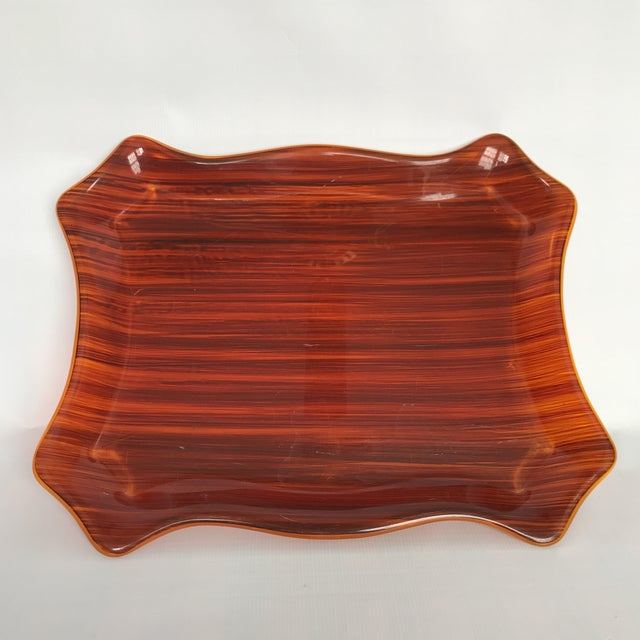 Brown Mid Century Faux Bois Tray For Sale - Image 8 of 8