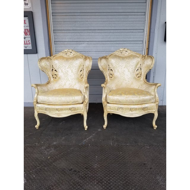 Vintage Victorian White Bergere Chairs - a Pair - Image 4 of 5