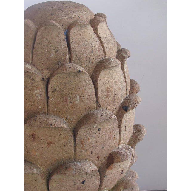 Modern A robust pair of Mexican hand-carved cantera stone artichoke elements For Sale - Image 3 of 5