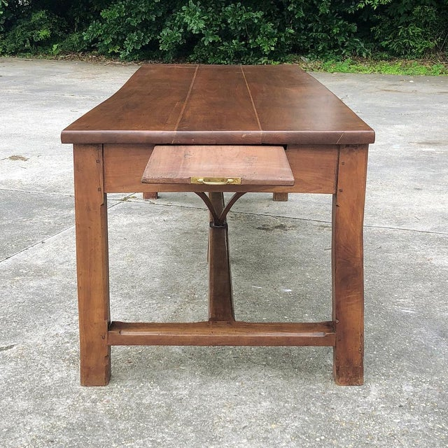 9th Century French Cherrywood Farm Table With Pair Benches For Sale - Image 10 of 13