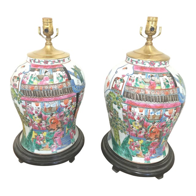 Large Chinese Hand Painted Porcelain Temple Jars Mounted Table Lamps - a Pair For Sale