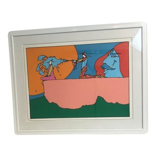 "1970s Vintage Peter Max ""Giving the Light"" Original Signed Lithograph For Sale"