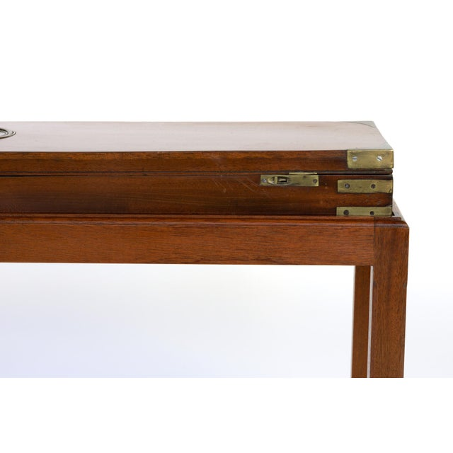 Metal English Mahogany Campaign Gunbox on Later Mahogany Stand, Circa 1840 For Sale - Image 7 of 10
