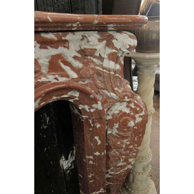 Italian Mixed Red Gray & White Marble Mantle For Sale - Image 4 of 9