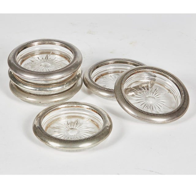 1960s Glass & Silverplate Coasters, Set of 6 For Sale - Image 4 of 4