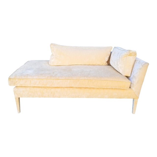 Custom Cream Textured Velvet Chaise With Fabric Covered Legs For Sale