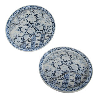 Vintage Blue & White Chinoiserie Ming Metal Trays-4 Pieces For Sale