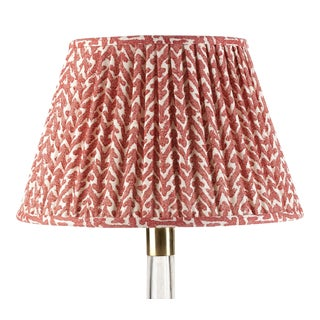 Fermoie Gathered Cotton Lampshade in Red Rabanna, 18 Inch For Sale