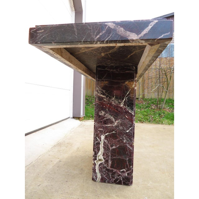 Late 20th Century 20th Century Hollywood Regency Variegated Marble Pedestal Console or Entryway Table For Sale - Image 5 of 13