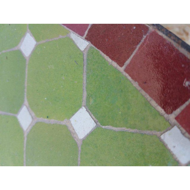 """Amazing half-moon custom made Moroccan mosaic table measuring approximately 32"""" in length and 12"""" in width. An indoor and..."""
