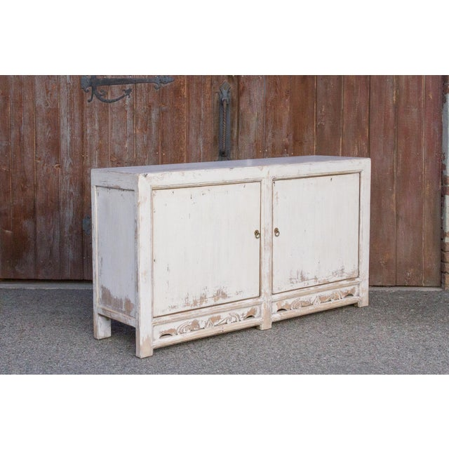 Antique White Farmhouse Rustic Asian Cabinet For Sale - Image 4 of 11