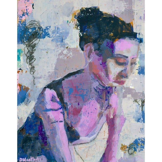 Figurative Framed Lavender Figure Mixed Media Painting by Donna Weathers For Sale - Image 3 of 3
