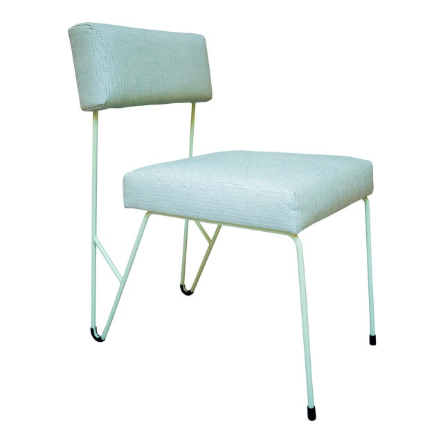 Fay Outdoor Dining Side Chair, Green Upholstered Sunbrella with Green Powder Coated Stainless Steel Base For Sale