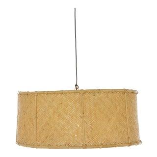 Drum Pendant, Beige, Rattan For Sale