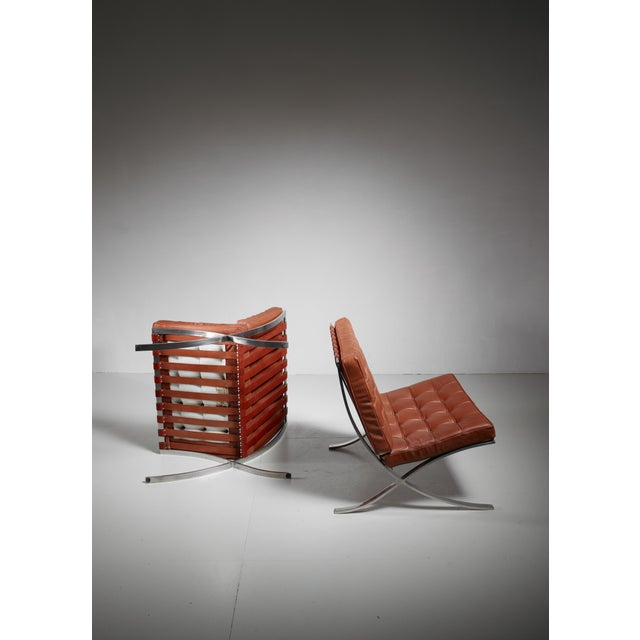 Metal Pair original Barcelona chairs, 1st Knoll edition, 1950s For Sale - Image 7 of 8
