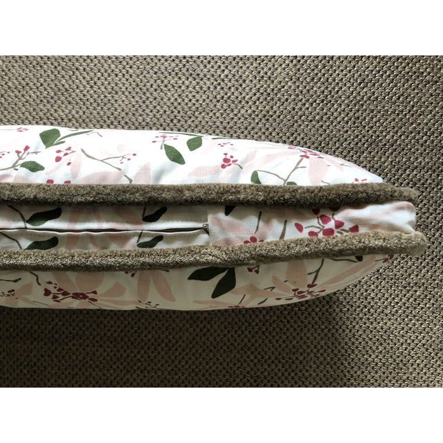 """C.R. Laine Furniture Custom Bolster Pillow of Block and Brayer """"Mountain Laurel"""" With Wooly Fringe For Sale - Image 4 of 5"""