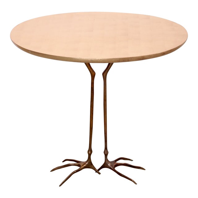 Early Bronze and Gold Leaf Wood Traccia Coffee Table by Meret Oppenheim - Image 1 of 6