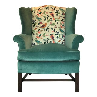 1940s Vintage Teal Velvet Chippendale Wingback Chair For Sale