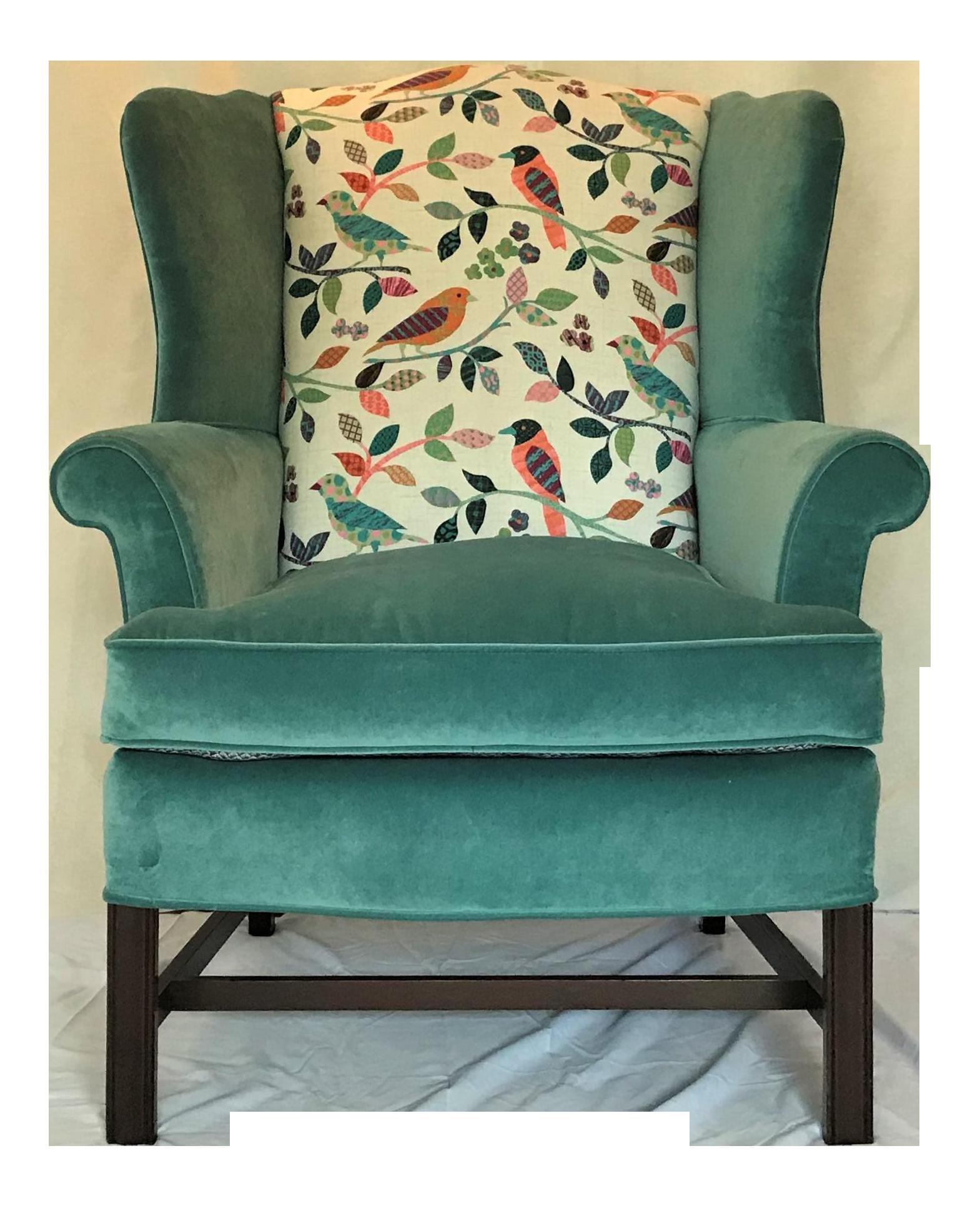 1940s Vintage Teal Velvet Chippendale Wingback Chair