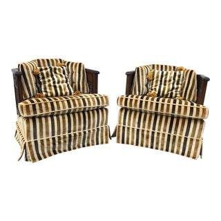 Vintage United Furniture Striped Barrel Chairs- A Pair For Sale