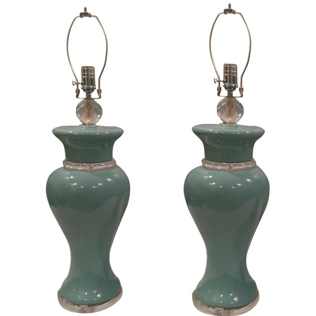 Aqua Colored Ceramic Lamps - A Pair - Image 1 of 8