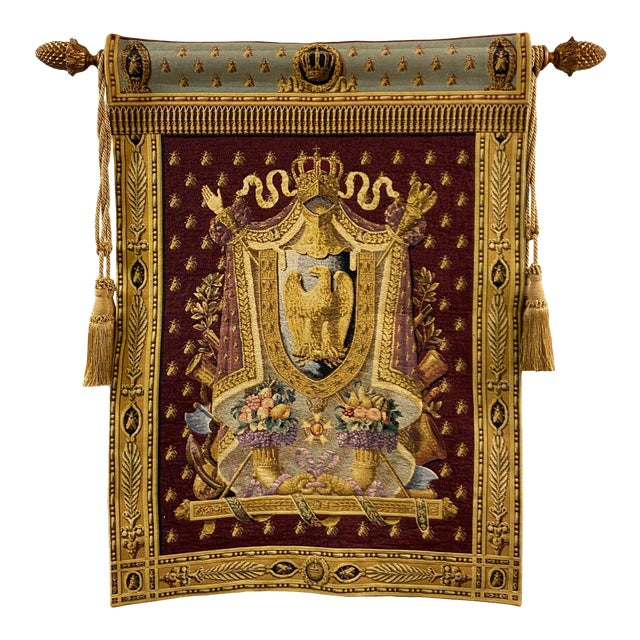 Large Tapestry Coat of Arms With Golden Eagle For Sale