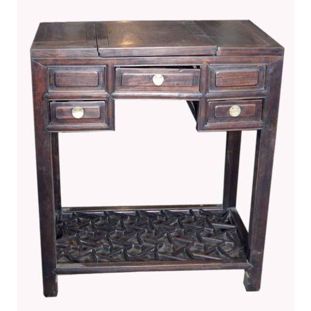 Asian Chinese Vintage Dark Lacquered Wood Dressing Table With Mirror and Drawers For Sale - Image 3 of 8