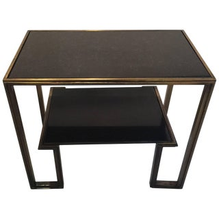 James Mont Style Marble and Patinated Metal Two-Tiered Table