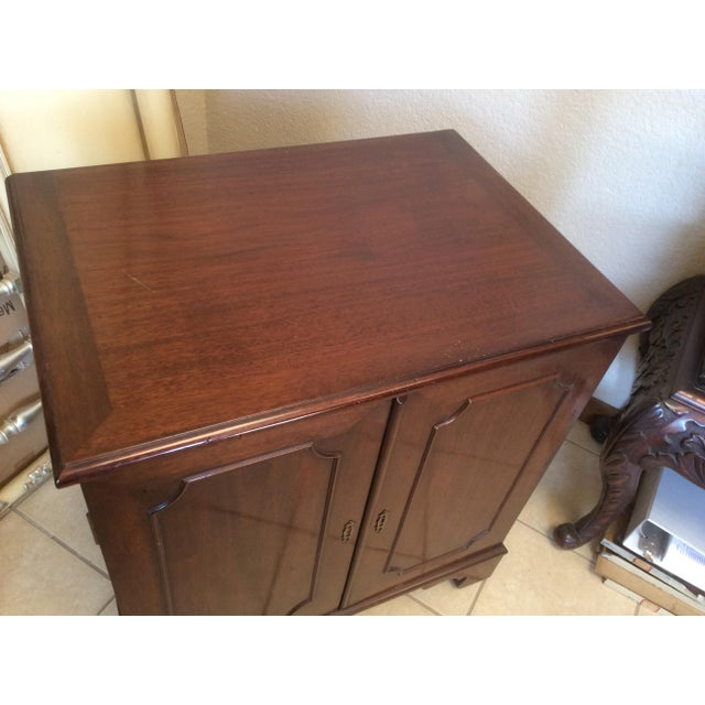 Wood Classic Mahogany Two Door Cabinet With Handles For Sale - Image 7 of 10