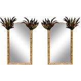 Image of Pair of Gilt Metal Hollywood Regency Tole Palm Tree Mirrors For Sale