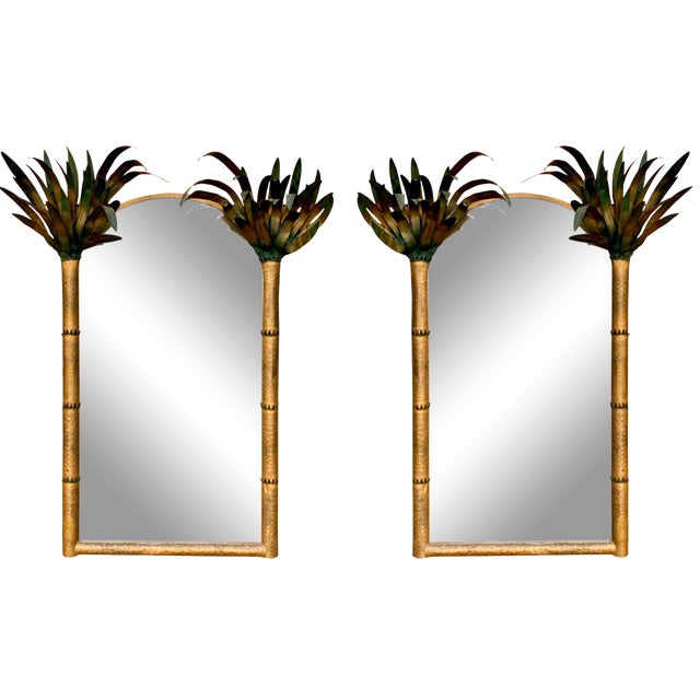 Pair of Gilt Metal Hollywood Regency Tole Palm Tree Mirrors For Sale