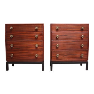 Pair of Midcentury Stained Mahogany Chest of Drawers For Sale