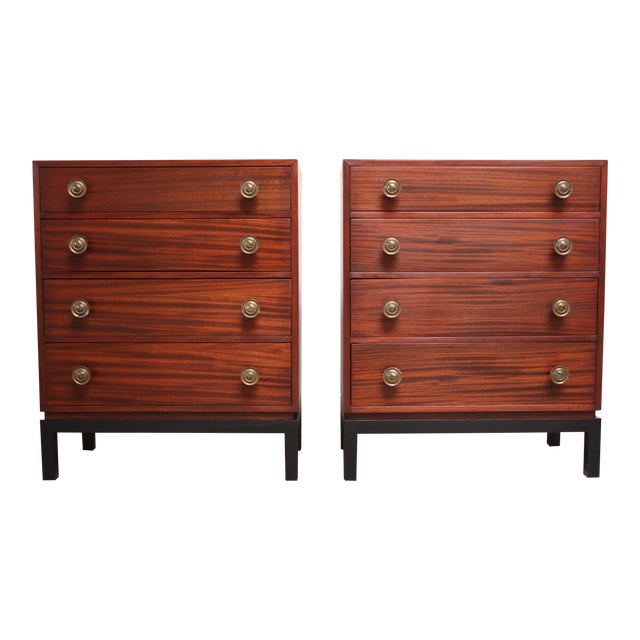 Pair of Midcentury Stained Mahogany Chest of Drawers - Image 1 of 9