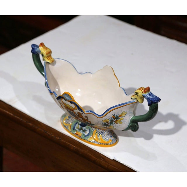 Ceramic 19th Century French Hand Painted Faience Oval Jardinière Signed Henriot Quimper For Sale - Image 7 of 11
