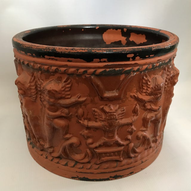Terracotta Figural Relief Pot For Sale - Image 4 of 11