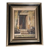 Image of Vintage Original Impressionist Country Doorway Painting Signed For Sale