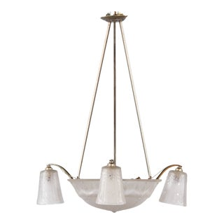 1930s French Art Deco Chandelier by Muller Freres For Sale