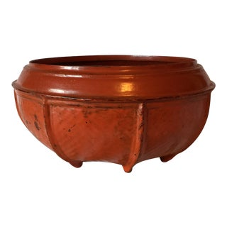 Red Burmese Lacquered Bowl For Sale