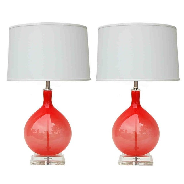 Contemporary Joe Cariati Hand Blown Glass Table Lamps Green For Sale - Image 3 of 4