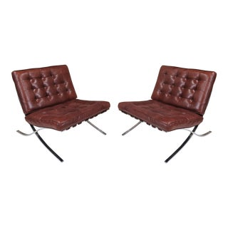 Mid-Century Modern Tufted Brown Leather Lounge Chairs - a Pair For Sale