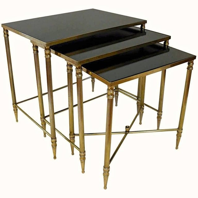 French Bagues Style Brass Nesting Tables - Set of 3 For Sale - Image 13 of 13
