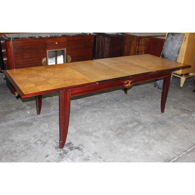 1940s French Art Deco Sycamore / Mahogany Dining Table For Sale - Image 9 of 9