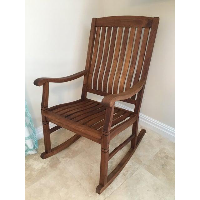 2000s Americana Cambridge Teak Rocking Chair For Sale - Image 13 of 13